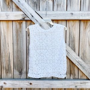 Vintage Lace Overlay Silk Lined Sleeveless Blouse